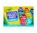 Washable Glitter Paint, 6 Count Front View of Package