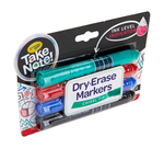 Take Note Colored Dry Erase Markers, 4 Count Front View