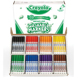Washable Broad Line Markers Classpack, 200 Count, 8 Colors
