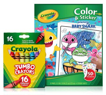 Baby Shark Color & Sticker Book with Jumbo Crayons