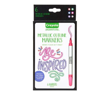 Signature Metallic Outline Paint Markers, 6 Count Front View