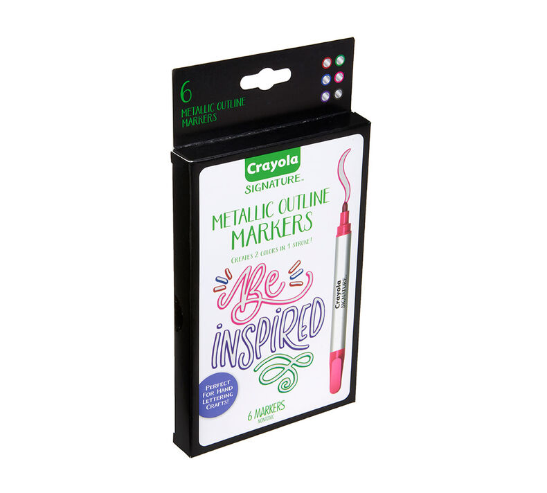 Signature Metallic Outline Paint Markers, 6 Count