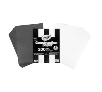200 Count Construction Paper Black and White side by side