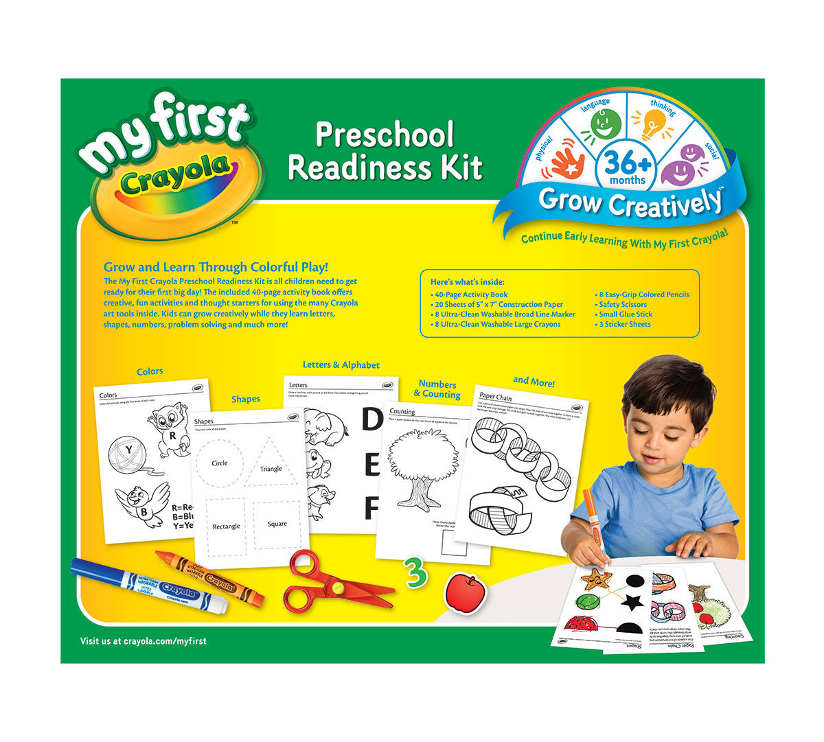 My First Crayola, Preschool Readiness Kit, All-in-One Art Tools and ...