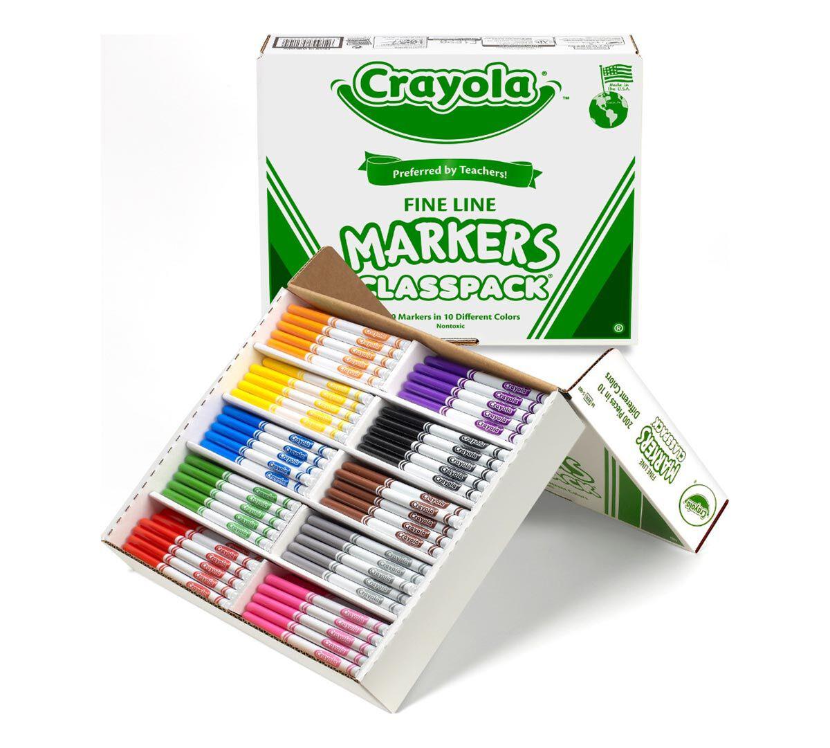 200 Count Crayola Fine Line Markers Classpack, 10 Colors - Crayola