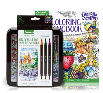 Lennon & McCartney Adult Coloring Kit, Brush & Detail Markers Gift Set