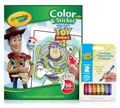 Toy Story 4 Color & Sticker Book with Triangle Crayons