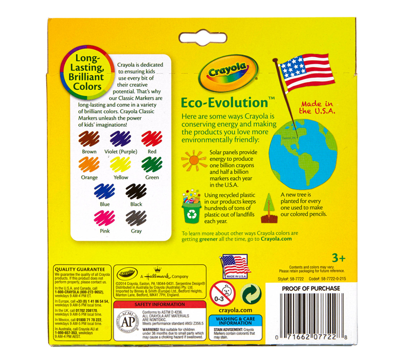 Non-Washable Markers Broad Point Classic Colors 6 Sets 10//Set