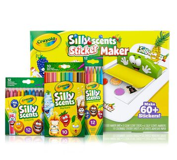Silly Scents Sticker Maker Deluxe Kit front view of included products
