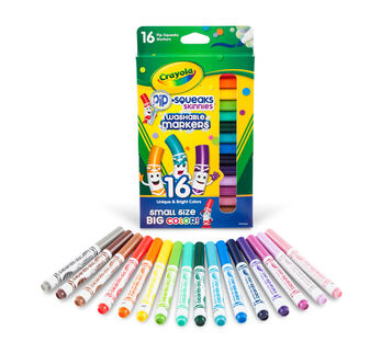 Pip-Squeaks Skinnies Marker, 16 Count Front View with marker