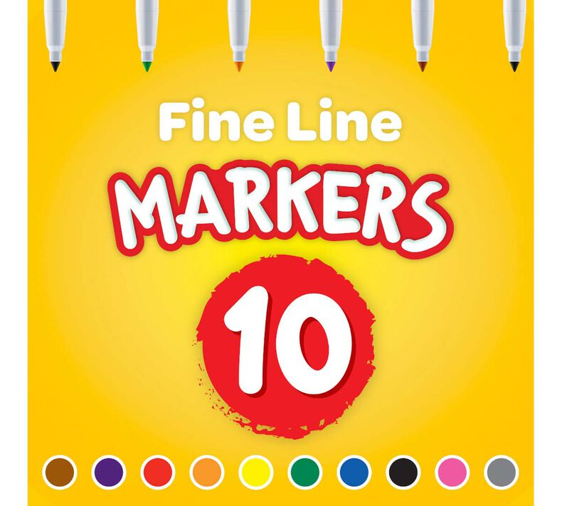 Fine Line Markers, Classic Colors, 10 Count