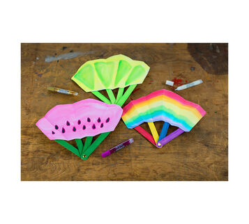 Colorful Hand Fan Craft Project Completed