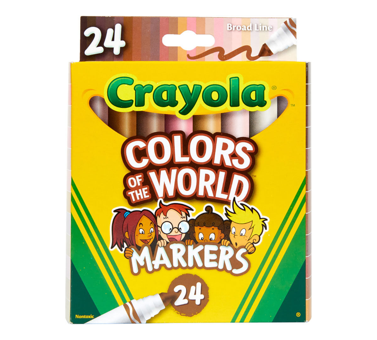 Colors of the World Skin Tone Broad Line Markers, 24 Count