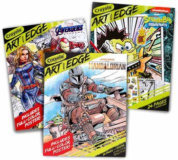 3 ADULT COLORING BOOKS: Features 3 Coloring Books including Marvel Avengers Endgame, The Mandalorian, and SpongeBob Squarepants!
