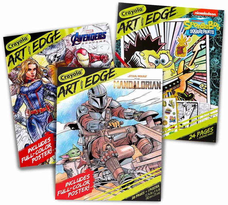 3-in-1 Art with Edge Coloring Book Set