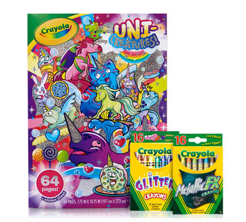 Uni-Creatures Coloring Kit with Metallic & Glitter Crayons
