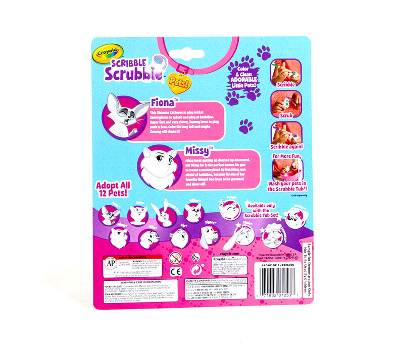 Scribble Scrubbie Pets, Cats, 2 Count