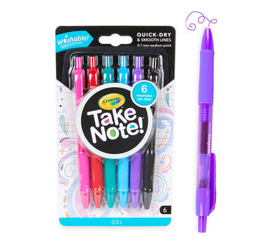 Take Note Washable Gel Pens, 6 Count