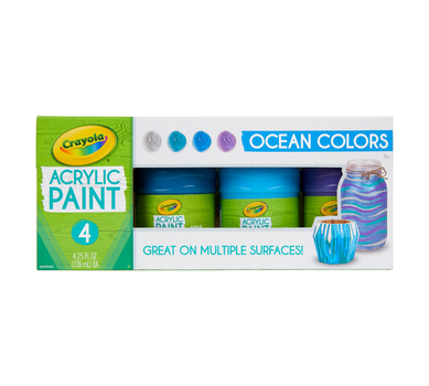 Multi-Surface Acrylic Paint, Ocean Colors, 4 Count