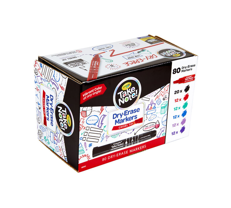 Take Note Dry Erase Markers, 80 Count