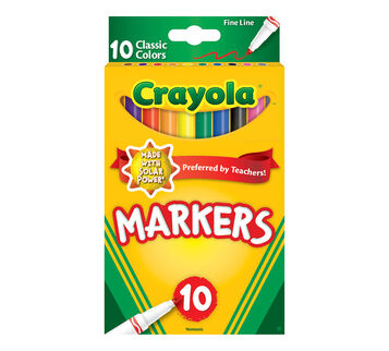Crayola Fine Line Markers, Classic Colors, 10 Count Front View of Box