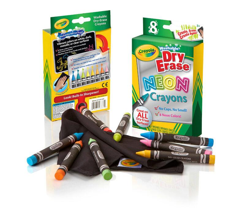 Neon Dry Erase Crayons, 8 Count