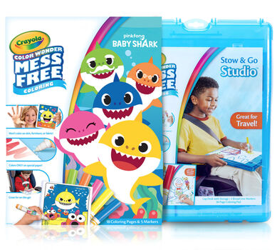 Color Wonder Mess Free Baby Shark Stow & Go Coloring Set