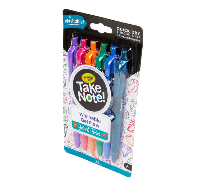 Take Note Washable Gel Pens, Jewel Tones, 6 Count