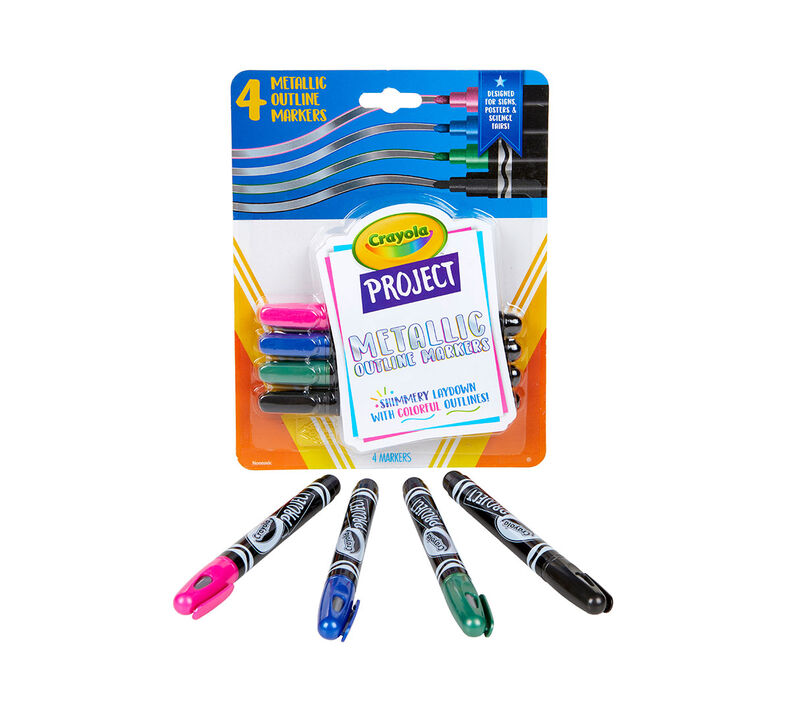 Metallic Outline Markers, 4 Count