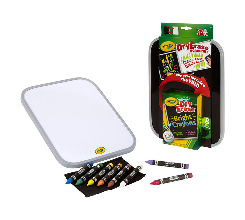 Dual-Sided Dry Erase Board Set with Bright Crayons