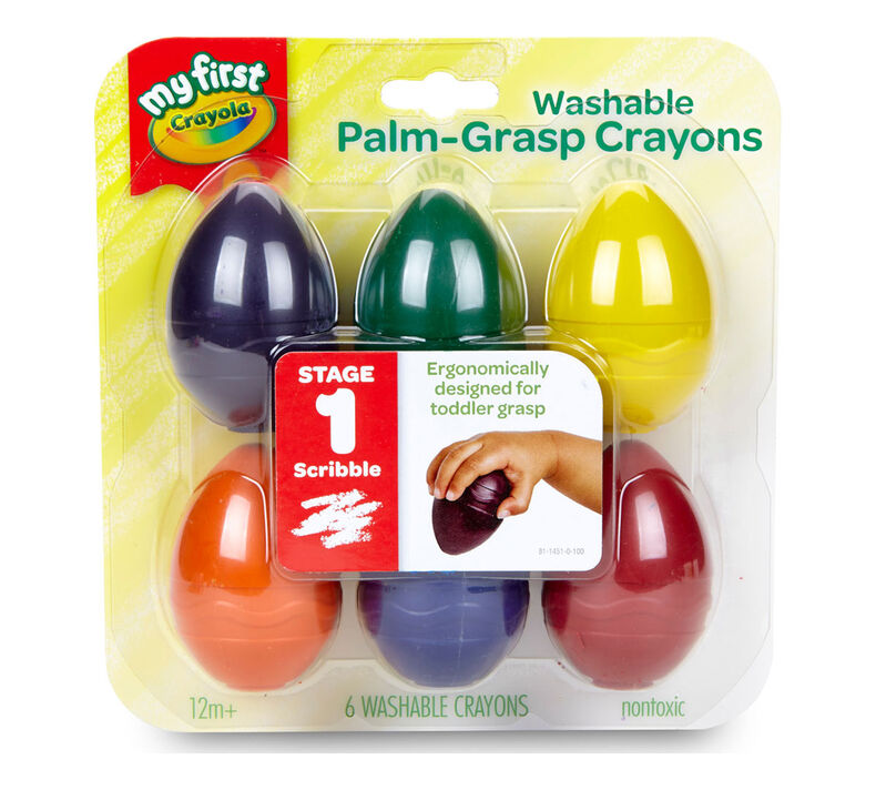 Washable Palm Grasp Toddler Crayons, 9 Count
