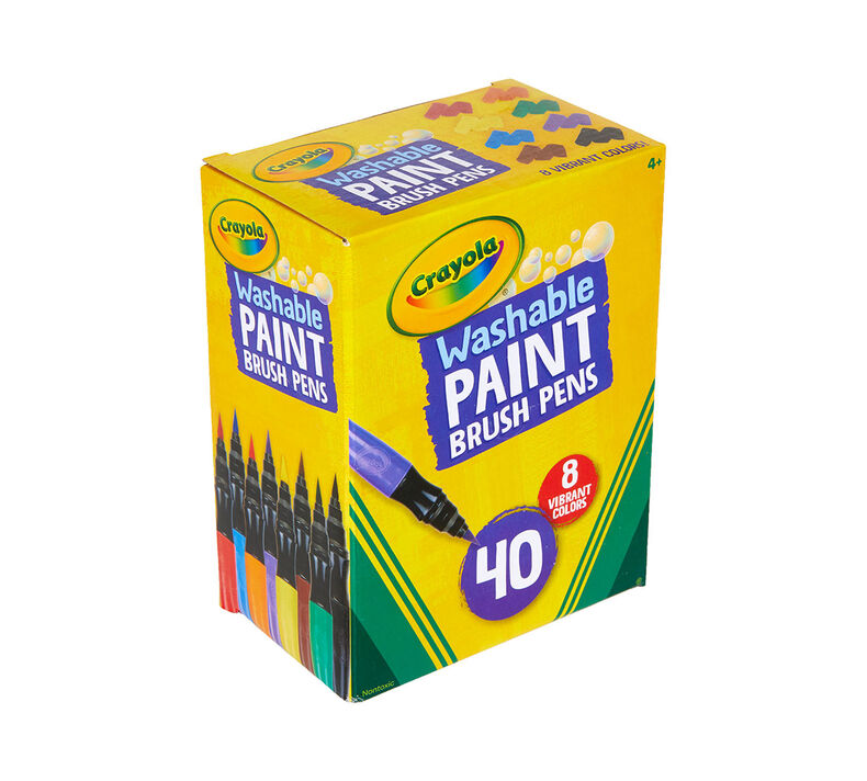 No Drip Paint Brush Pens, 40 Count, 8 Colors