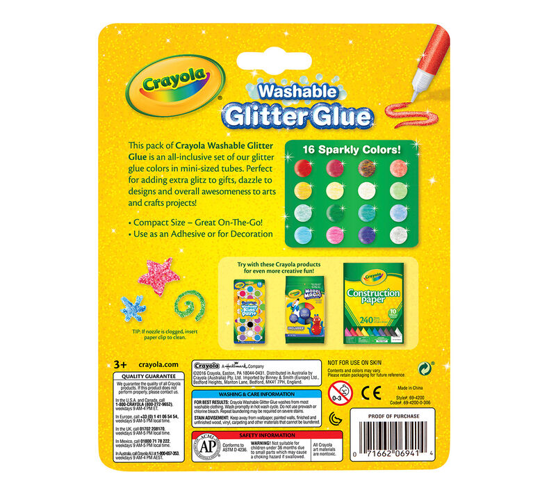 Washable Glitter Glue, 16 Count