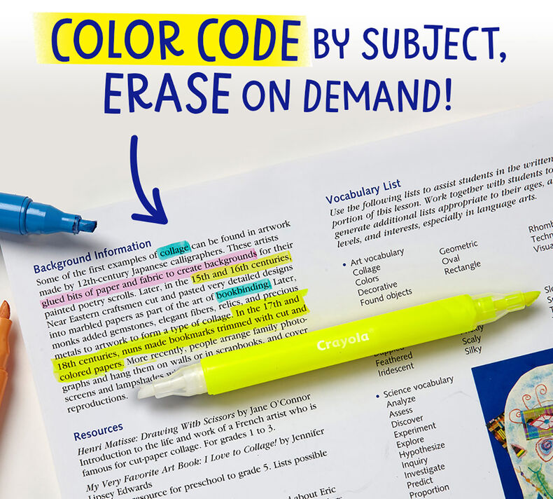 Take Note Erasable Highlighters, 6 Count