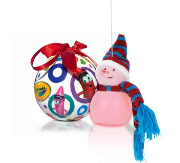 2 in 1 Crayola Ornament Gift Set.  Round Tip Character Ornament and Snowman Ornament