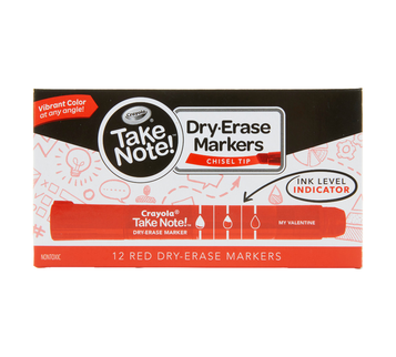 Take Note Red Dry Erase Markers, 12 Count Front View