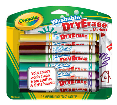 Washable Dry-Erase Broad Line Markers, 12 Count