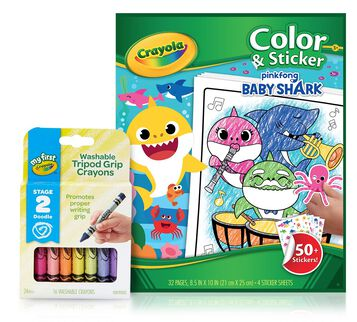 Baby Shark Color & Sticker Book with Triangular Crayons