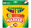 Broad Line Markers, Classic Colors, 10 Count, Front View