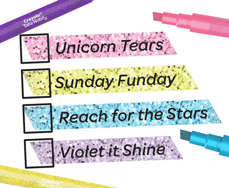 Take Note Glitter Highlighters, 4 Count