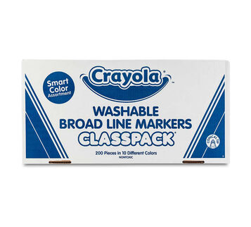 Washable Broad Line Markers Classpack, 200 Count, 10 Colors