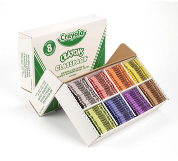 Classic Crayola Crayons Classpack, 800 Count, 8 Colors Box Open Left Angle View