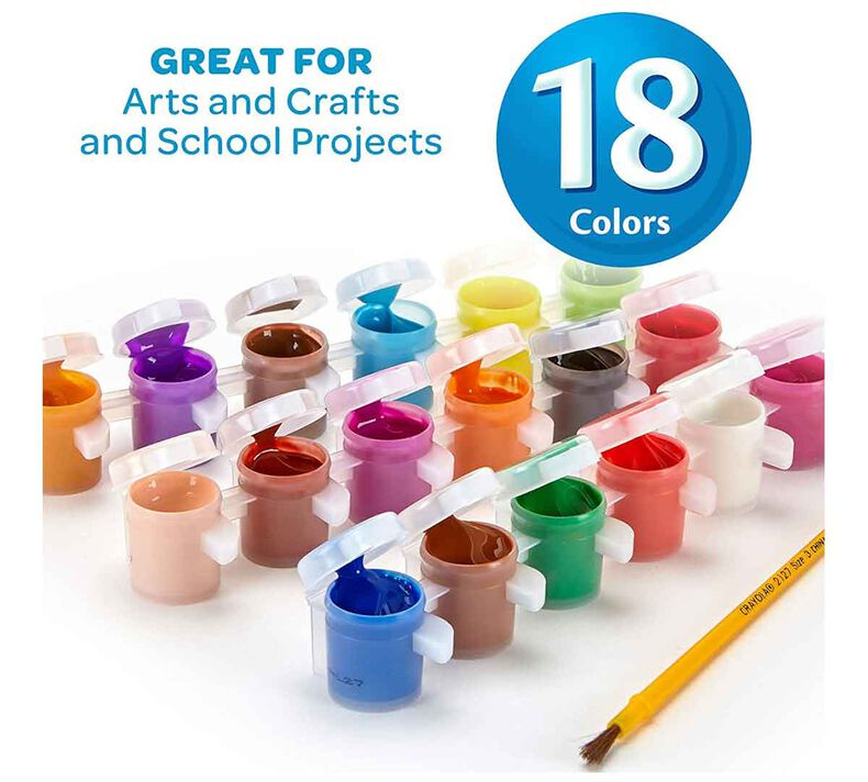Washable Paint Pots with Brush, 18 Count