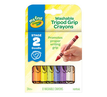 My First Washable Tripod Grip Crayons 8 conut front of box