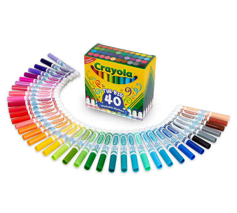 40 Count Washable Markers, Broad Line