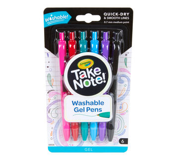 Take Note Washable Gel Pens, 6 Count Front View