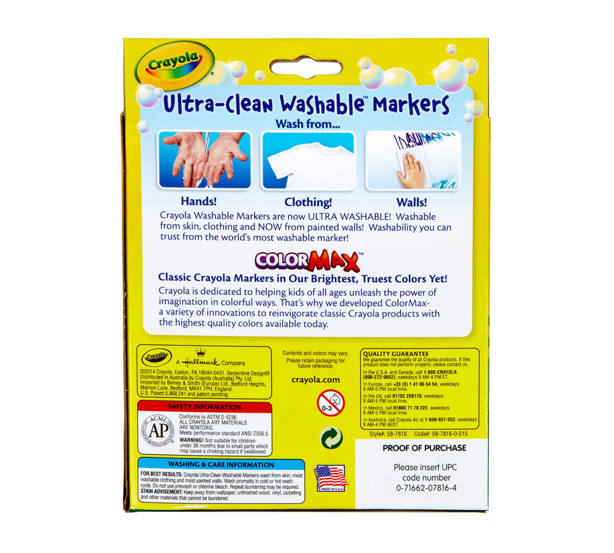 Ultra-Clean Markers, Broad Line, Tropical, 8 ct  | Crayola