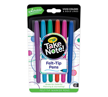 Take Note Washable Felt Tip Pens 6 count
