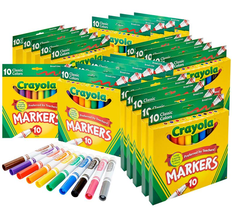 Marker Classpack, 25 Individual Boxes of 10 Count Classic Broad Line Markers