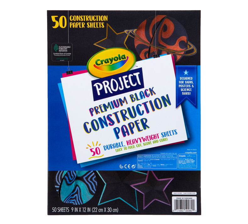 Premium Black Construction Paper, 50 Sheets